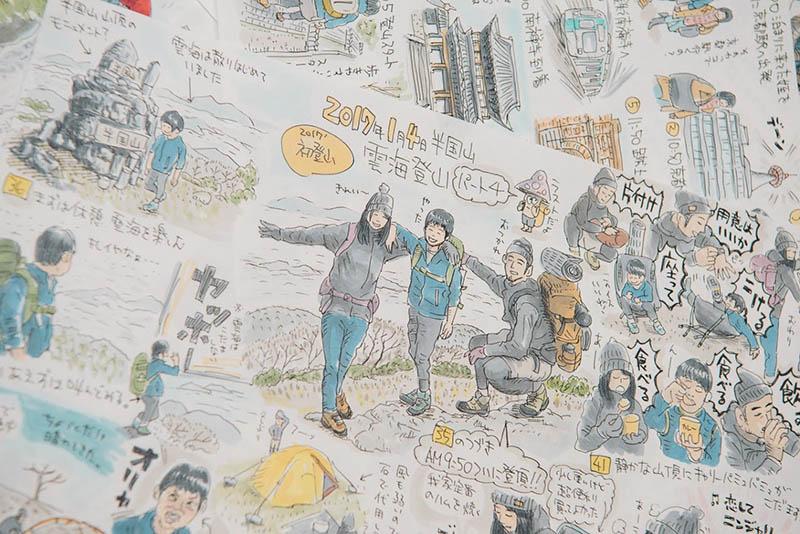ヤマガスキナダケさんが山行ごとに書いているイラスト。インスタにアップするたび反響がある