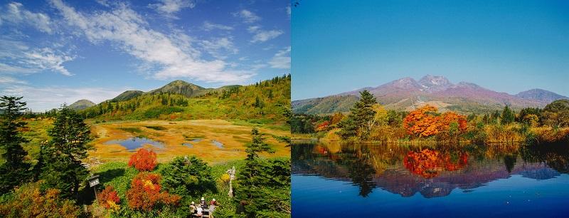 日本百名山火打山と妙高山(右)。10月中旬ごろには紅葉が美しい(提供写真)
