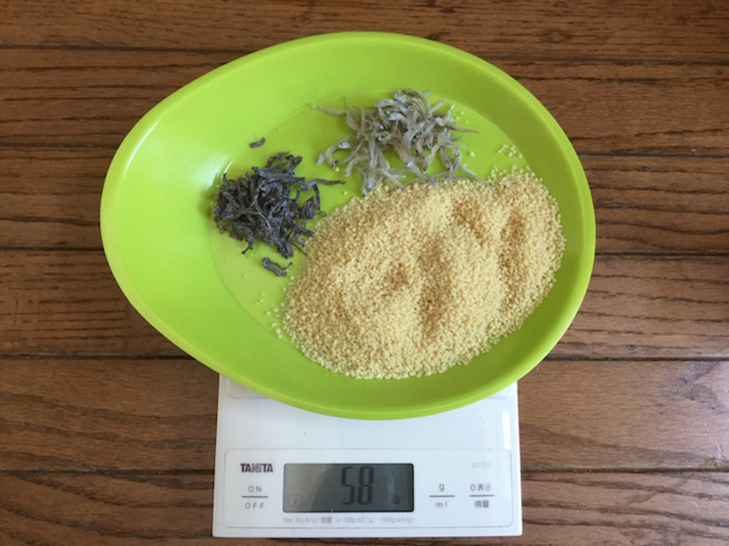 一人分の材料の重さはたった58g(トマトジュース分を除く)