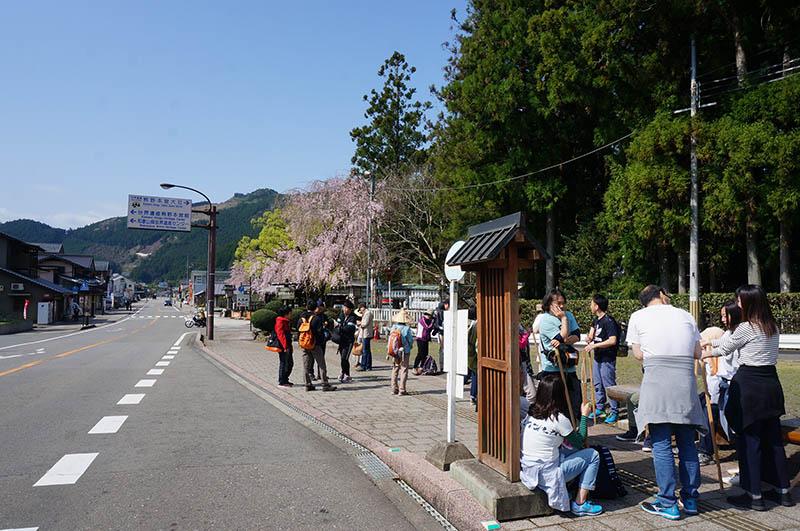 本宮大社前のバス停。ここから発心門王子までバスで25分。休日なのでバスはほぼ満席