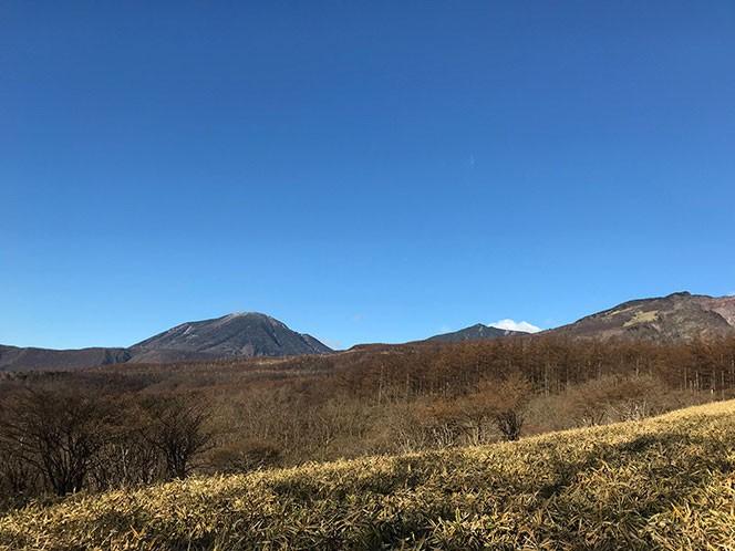 コース途中に見える男体山