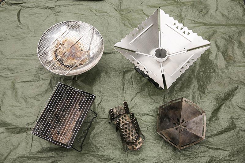 今回使う焚き火台たちの完成形。焚火台ひとつでもいろいろな形がある