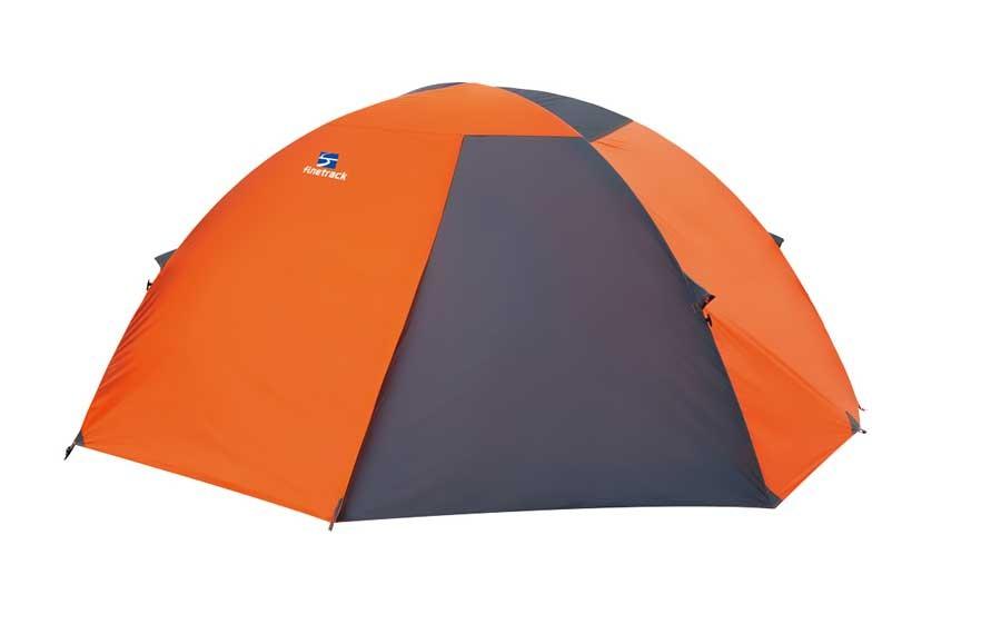 写真は、4シーズン対応のテント「カミナドーム2」。山の中で映えるバイカラー仕様