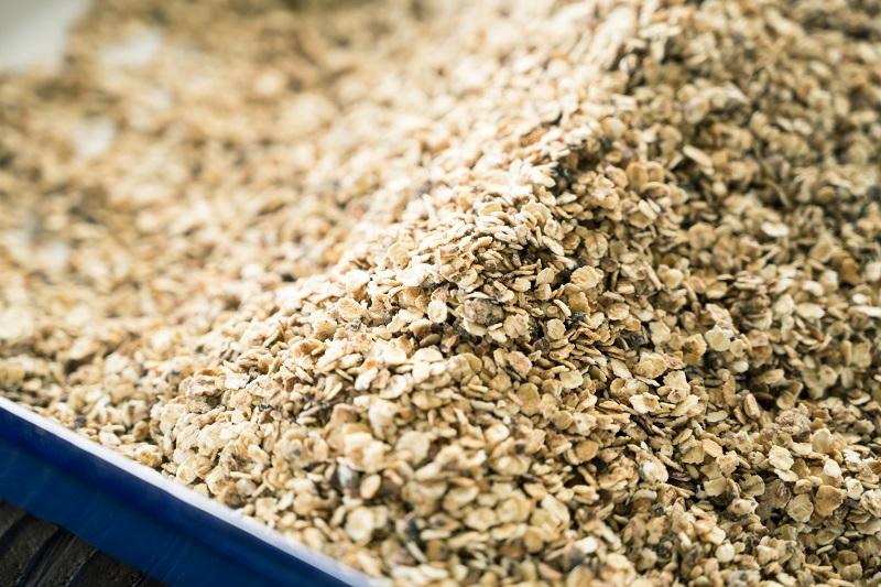 *オーツ麦を焼き上げる前の「ミューズリー」