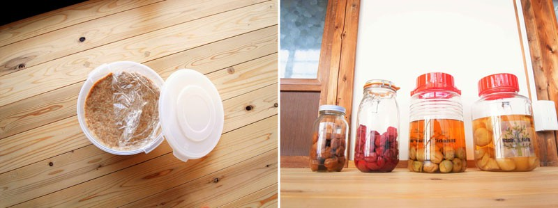 左:今年の2月、はじめて漬けたというまどかさんの手作り味噌。右:梅干しが大好物で、数種類を漬けている