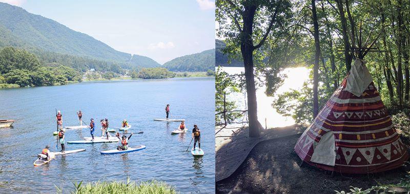 夏はSUPやキャンプのお客さんで賑やかに。右は伊藤さんが作ったティピのグランピングサイト(提供写真)