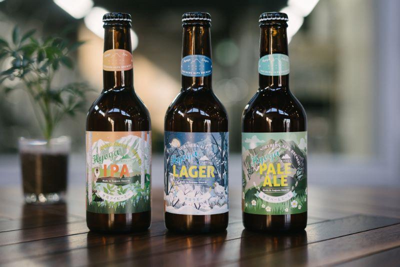 瓶ビールはIPA、ラガー、ペールエールの3種類。ラベルは大町出身のデザイナーに依頼した