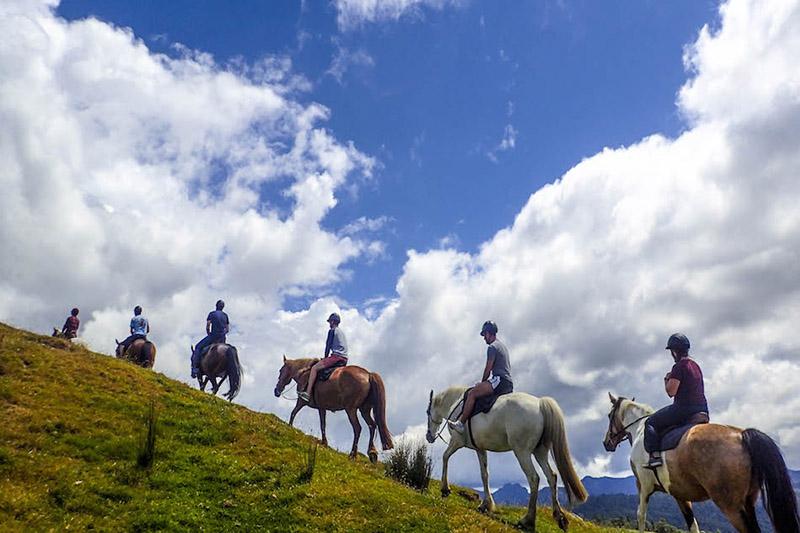 【人生初の乗馬体験。青空がキレイでいつまでも乗っていたかったです。】