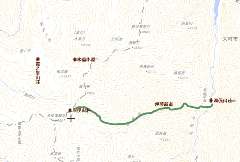 伊藤新道と水晶小屋・三俣山荘・雲ノ平山荘の概略図 (国土地理院)