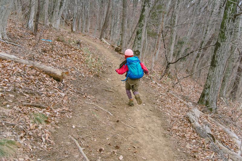 視界のいい平坦な登山道を見つけては駆け抜けるレイチェルちゃん
