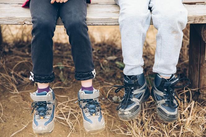 天野さんのアドバイスを活かし子どもたちのために、メルカリで登山靴を用意した。